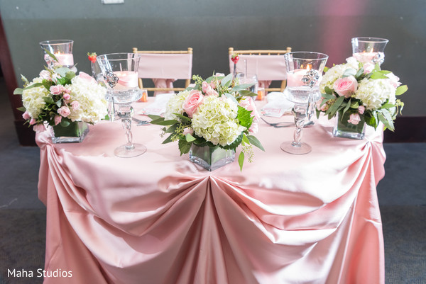 Romantic indian newlyweds table