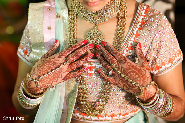Close up of the beautiful mehndi design on the maharani's hands