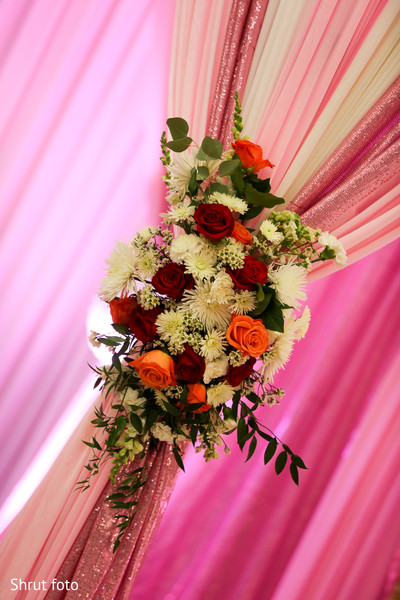 Floral arrangement detail for the Indian wedding rituals