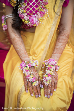 Colorful indian bride flower jewelry