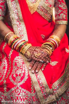 Detail of the beautiful sari,jewelry and mehndi designs on the maharani