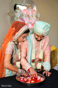 Indian newlyweds during the wedding ceremony rituals