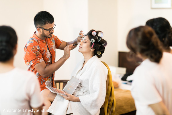indian bride,maharani,getting ready,makeup