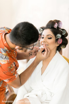 Maharani during the hair and makeup stage prior to the Indian wedding