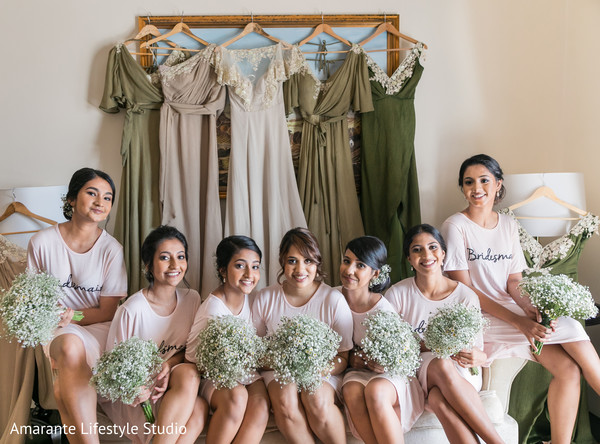 indian wedding,bridesmaids,getting ready,floral
