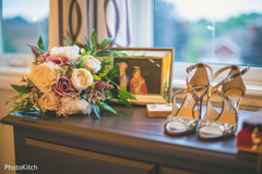 Indian bride's bouquet and heels