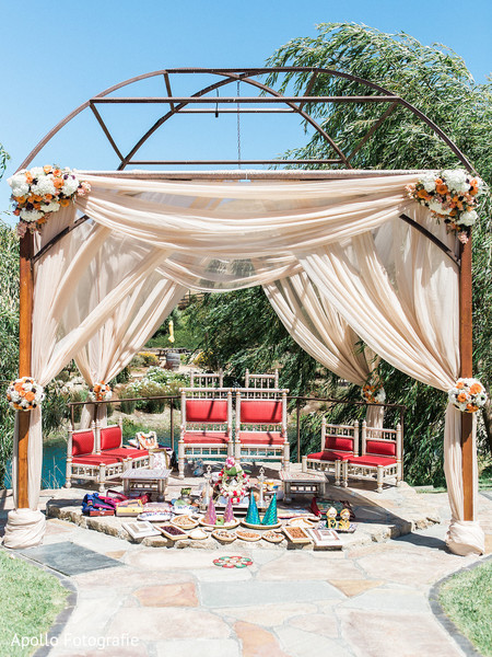 Beautiful decoration under the mandap for the Indian wedding