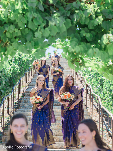 Overview of the dazzling bridesmaids wearing the sari