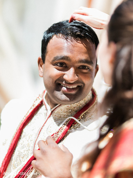 Portrait of the Indian groom during the Indian wedding rituals