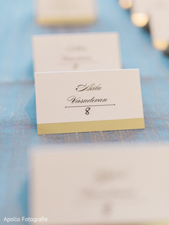 Closeup capture of Indian wedding reception table number stationary.
