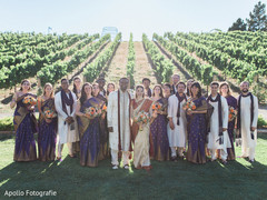 Magnificent Indian wedding couple with bridesmaids and groomsmen portrait.