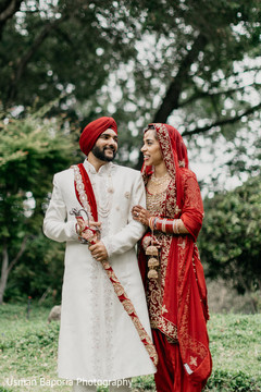 Lovely capture of the Indian bride and groom outdoors