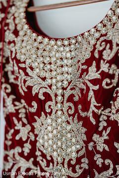 Close up capture of the beautiful Indian wedding sari