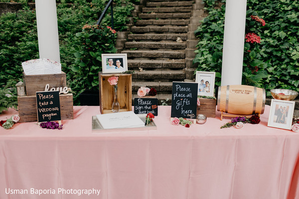 Table to put the gifts, take programs and write on the lovely guest book for the Indian wedding