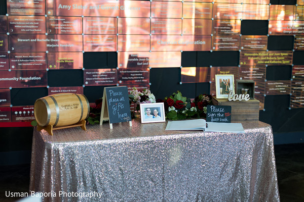 Amazing capture of the Indian wedding guest book and gift table