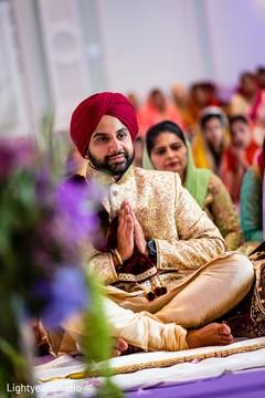 Indian groom during wedding ceremony