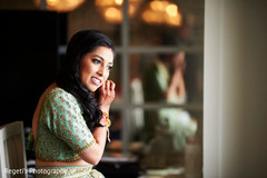 Indian bride getting ready for her reception
