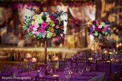 Colorful indian wedding table centerpieces
