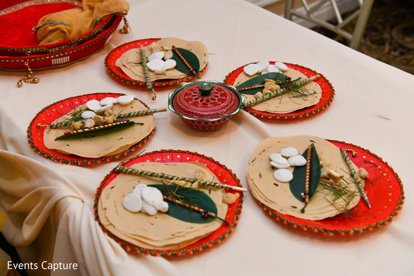 Indian pre-wedding ritual items capture.
