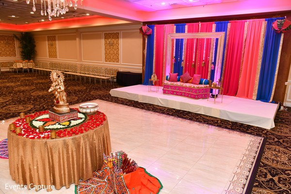 Magnificent Indian pre-wedding sangeet decor.