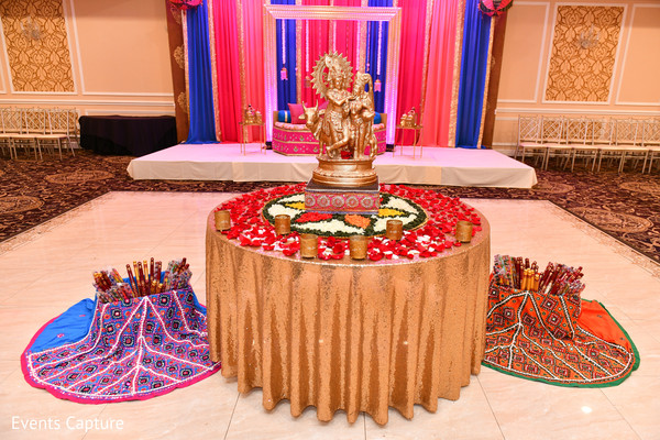 Indian pre-wedding sangeet decoration and accessories.