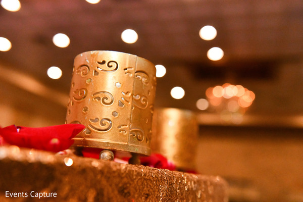 Indian pre-wedding candle holders decoration.