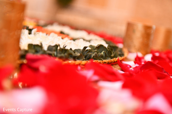 Indian pre-wedding petals and flowers decoration.