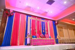 Stunning Indian pre-wedding stage decoration.