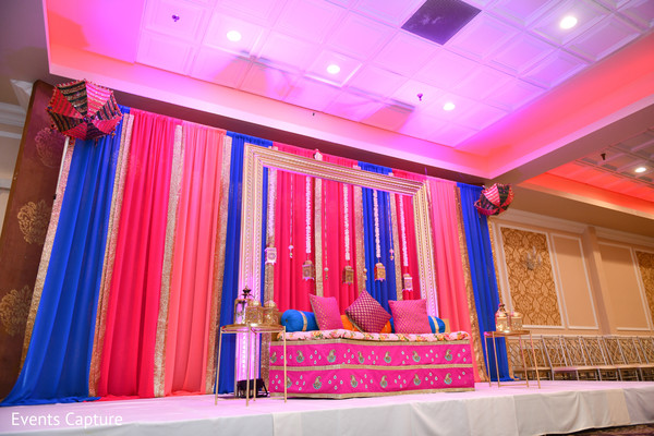 Stunning Indian pre-wedding stage decoration.