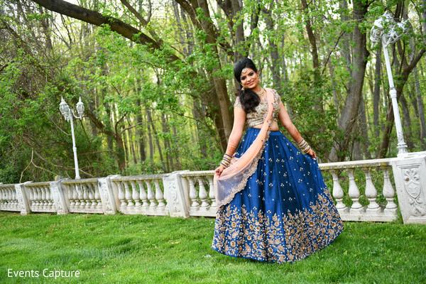 Enchanting outdoor Indian  bridal sangeet fashion photo shoot.