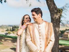 Indian bride surprising the groom