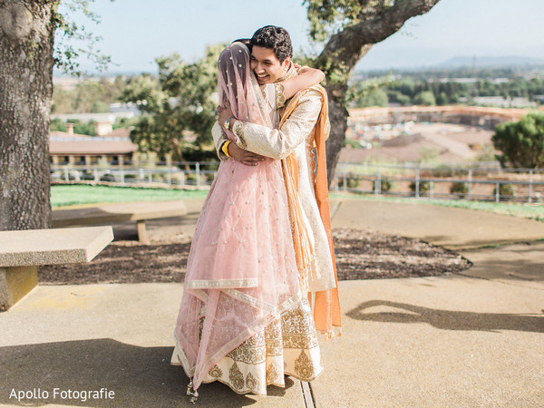 Indian couple hugging each other