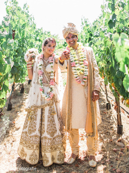Indian newlyweds at their outdoor photo shoot