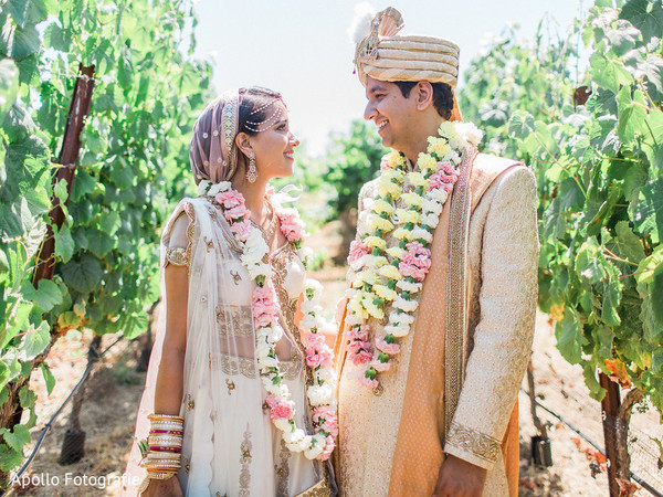 Indian couple's photoshoot at a vineyard