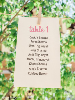 Detail of the first table distribution for the Indian wedding