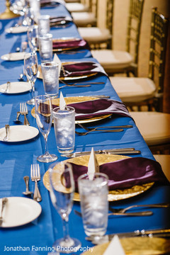 Marvelous Indian wedding reception tableware setup.