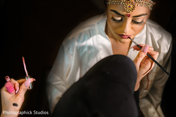 indian bride,getting ready,indian bridal hair and makeup