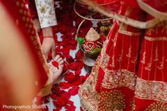 Indian groom's capture during the Saptapadi ceremony.