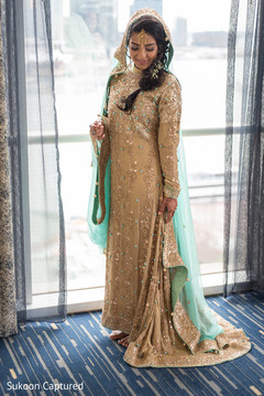 Magnificent Indian bridal golden anarkali.