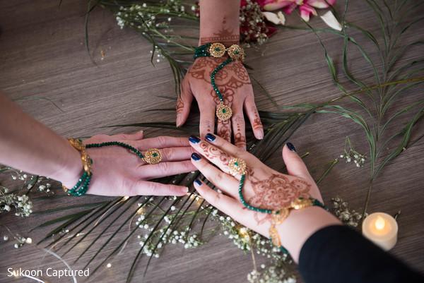Marvelous Indian bridesmaids Hath Panja bracelets capture.