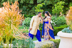 Lovely moment of the Indian bride and groom outdoors