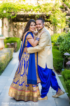 Dazzling Indian couple outdoors prior to the ceremony