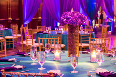 Detail of the table decoration design for the Indian wedding