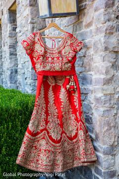Beautiful sari hanging ready to be worn by the maharani