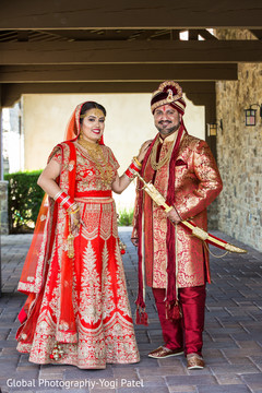 Portrait of the elegant Indian couple before the ceremony