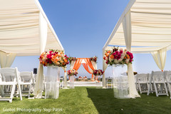 Overview of the Indian wedding stage outdoors