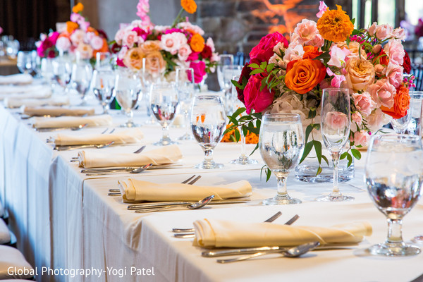 indian wedding reception,wedding table decor,tableware,indian wedding flowers