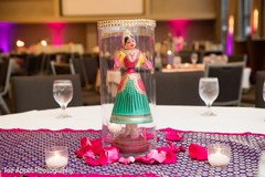Statue of the maharani over the Indian wedding tables