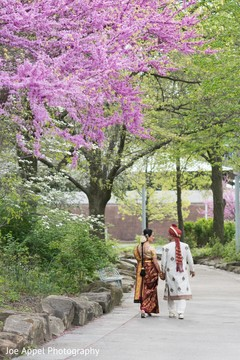 Striking capture of the Indian bride and groom walking under a pink tree