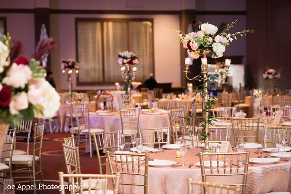 indian wedding,reception,floral arrangements,table